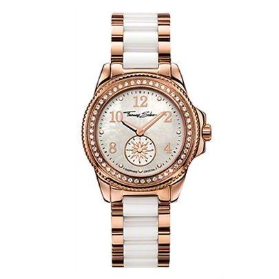 Thomas Sabo Ladies Rose Gold Plated White Ceramic Watch WA0162-262-202