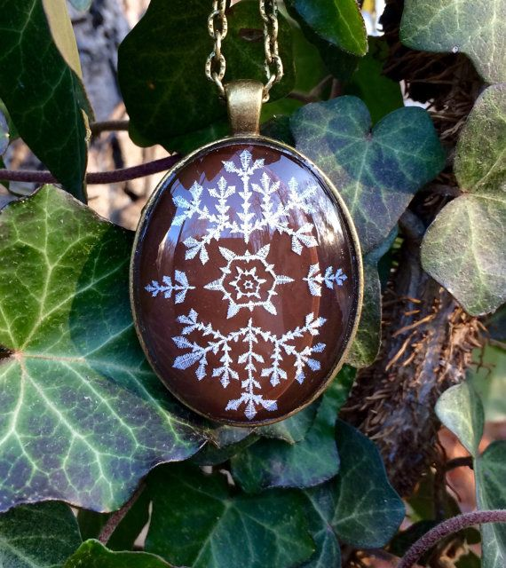 Engraved glass snowflake necklace Brown large holiday by IceWorks