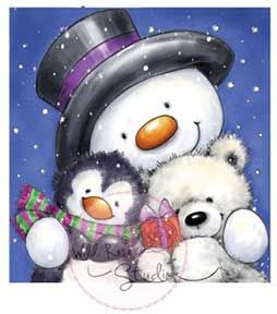 Wild Rose Stamps - Snowman Hugs