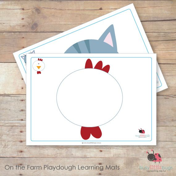 On the Farm playdough learning mats by Busy Little Bugs