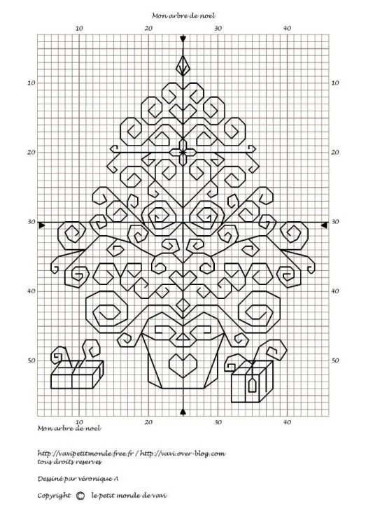 Blackwork Xmas tree - would be nice in green, red and gold