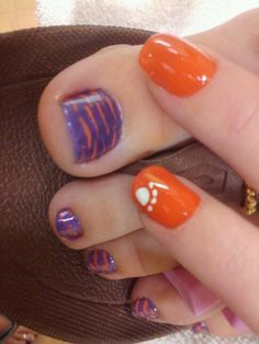 Best 25 tiger stripe nails ideas on pinterest tiger nail art tiger stripe nail design orange and purple clemson google search prinsesfo Image collections