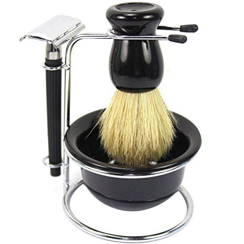 Best Makeup Brush Set | Youngman Mens Manual Razor Sets 4 in 1 Mens Shaving  Grooming Sets Razor Shaving Travel Set Kit Black  Old Style Razor ** Find out more about the great product at the image link. Note:It is Affiliate Link to Amazon.