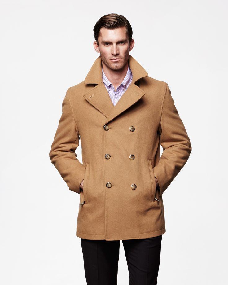 Houston Classic Wool Pea Coat For Men, Mens Brown Pea Coats