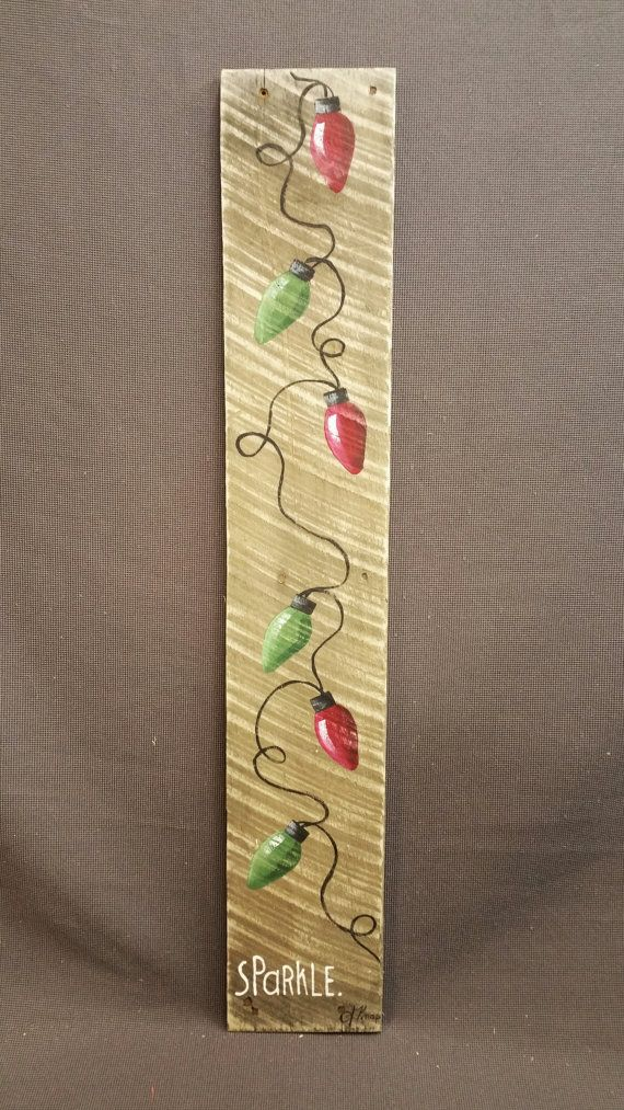 Christmas GIFTS UNDER 25, Hand painted Red & Green Christmas Lights Reclaimed Wood Pallet Art, Christmas decorations