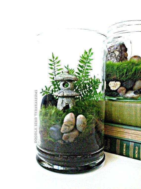Asian Landscape Garden Terrarium With Miniature Plants Pagoda In A Large  Decorative Glass Apothecary Jar   Japanese Zen Garden