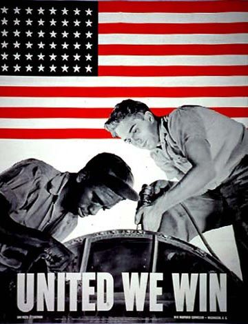 "United We Win  During World War II, racial restriction and segregation were facts of life in the U.S. military. Nevertheless, an overwhelming majority of African Americans participated wholeheartedly in the fight against the Axis powers. They did so, however, with an eye toward ending racial discrimination in American society. This objective was expressed in the call, initiated in the black press for the ""Double V""-victory over fascism abroad and over racism at home."