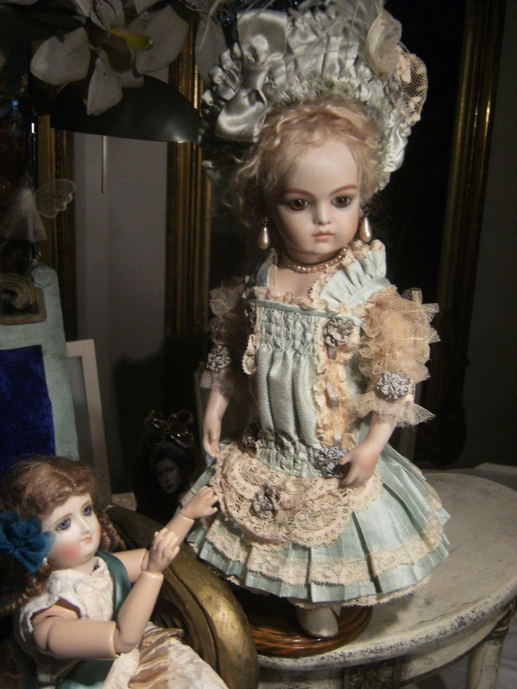 Beautiful antique French made Bru or Jumeau dress, for a 34cm or 13,4 from treasuresfromparis on Ruby Lane
