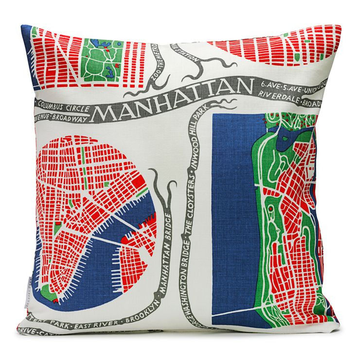 Cushion Manhattan Linen. Could only be cuter if it was a map of Brooklyn!