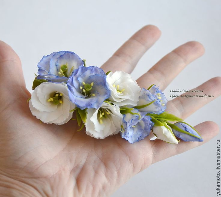 Купить Нежные эустомы (заколка-зажим) - подарок, свадебное украшение, заколка с цветами, украшение на выпускной