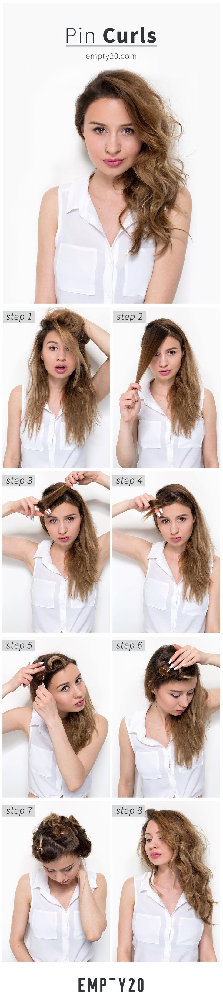 TUTORIAL for Heatless curls using bobby pins! No curling wand or straightener needed! (English version) #heatless #curls #tutorial #bobbypins