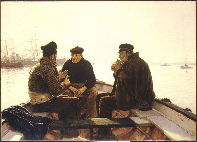 """met-european-paintings:  """" Boatmen of Barcelona by Dionisio Baixeras y Verdaguer via European Paintings  Medium: Oil on canvas  Gift of George I. Seney, 1886 Metropolitan Museum of Art, New York,..."""