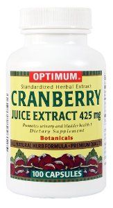 Optimum Tablets, Cranberry Juice Extract, 425 Mg, 100 Count (Pack of 2) by Optimum. $17.31. Guaranteed optimum quality, purity and potency. No preservatives; No chemical solvents. No artificial colors; No artificial flavors. Cranberry helps promote a healthy urinary tract by inhibiting the adherence of bacteria to the mucosal walls.. Save 42% Off!