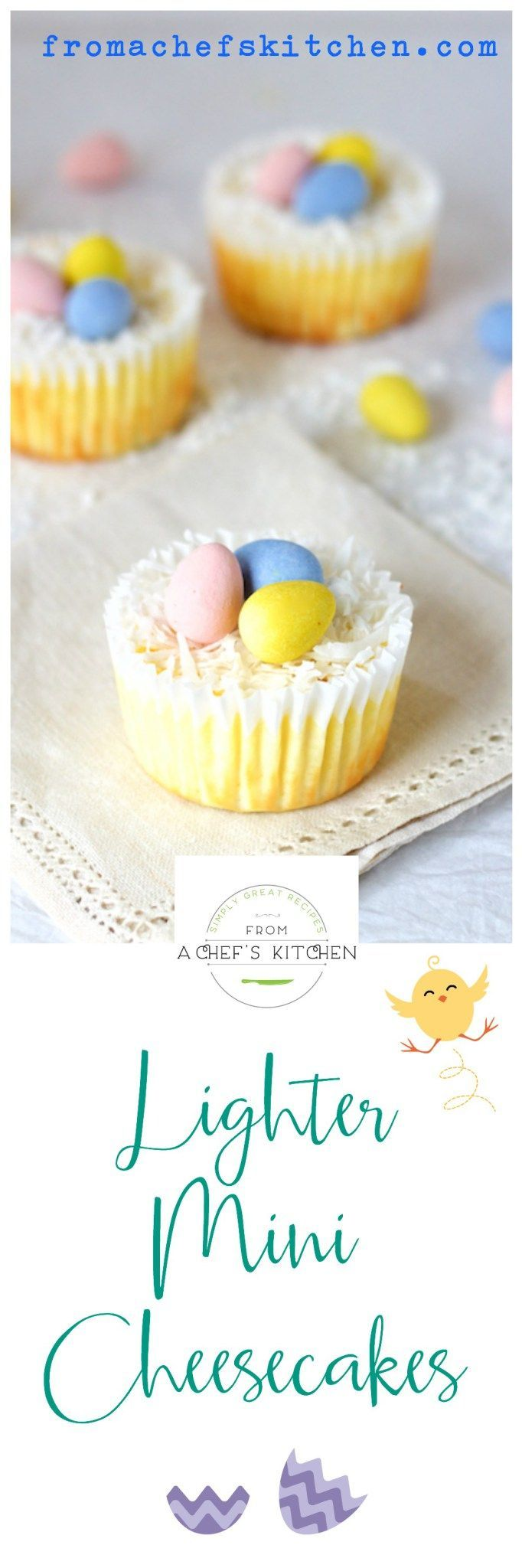 Lighter Mini Cheesecakes are the perfect portion size for a lighter, healthier Easter!