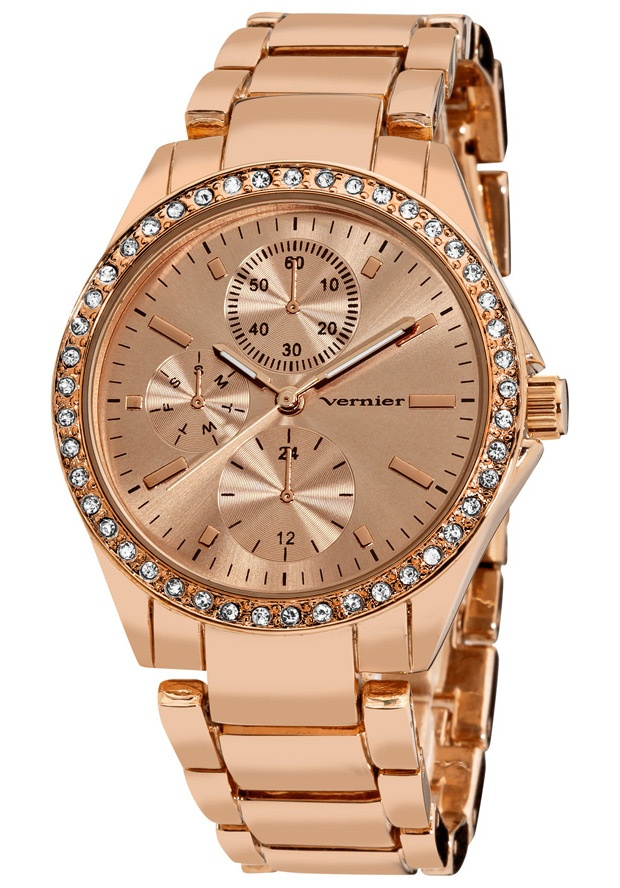 Price:$24.00 #watches Vernier VNR11090RG, This stunning fashion time piece features a side chrono-look pattern dial. The genuine crystal stones along the bezel and rose tone bracelet add a luxurious look.