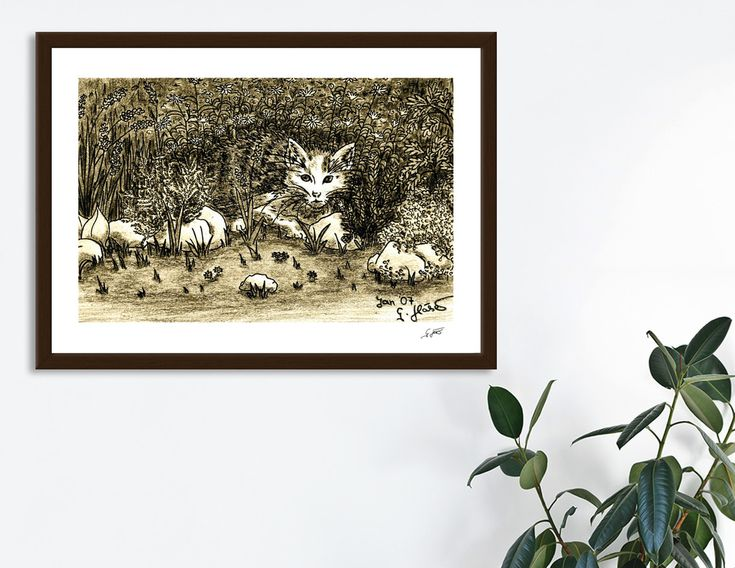 «Hiding Cat In Garden», Numbered Edition Art Print by GittaG74 - From 18€ - Curioos