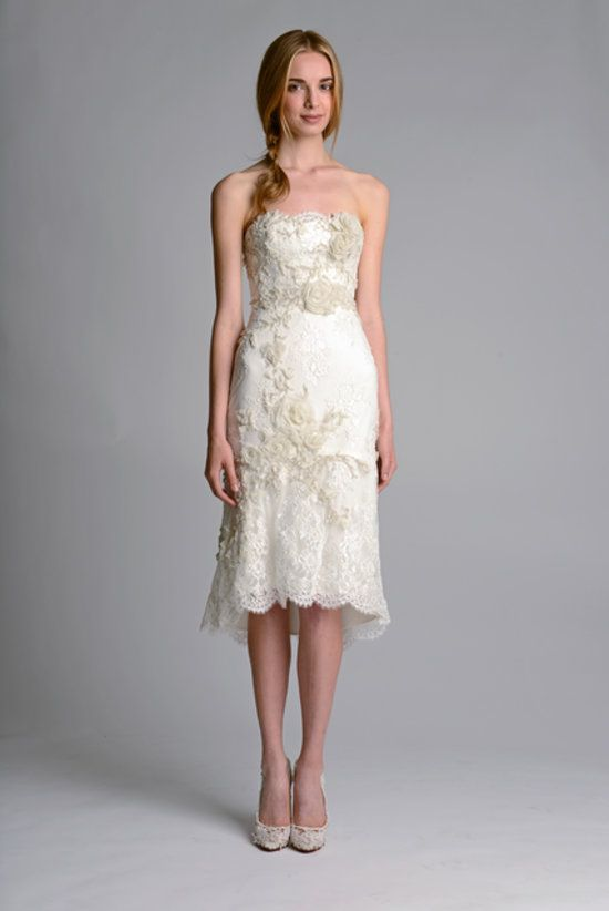 Would you wed in a cocktail dress like this one from Marchesa's Fall 2014 bridal collection?