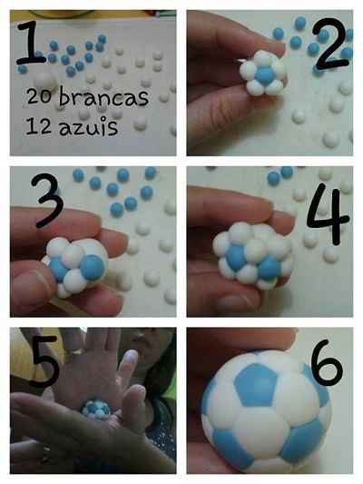 how to make an easy soccer ball from fimo. you could make birthday  party favors in your team colors. I wonder if this would work with fondant to make cupcake toppers? Seems like it would work. any body tried this - let us know.