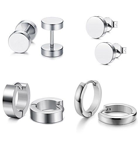 f052314c30bd3 Jstyle 4 Pairs Stainless Steel Stud Earrings for Men Women Hoop ...
