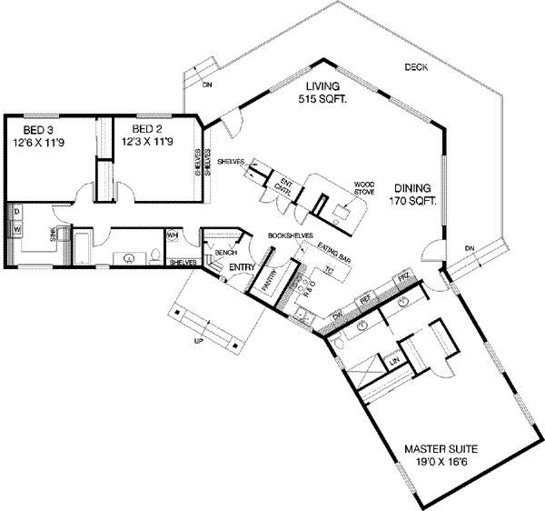 Ranch Style House Plan   3 Beds 2 Baths 2196 Sq/Ft Plan #60