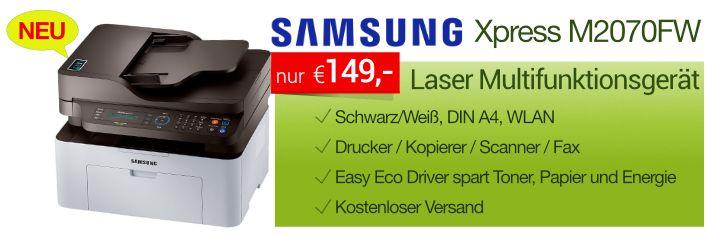 Neuer Laser Multifunktionsdrucker Samsung Xpress M2070FW - 4-in-1 Schwarz/Weiß…