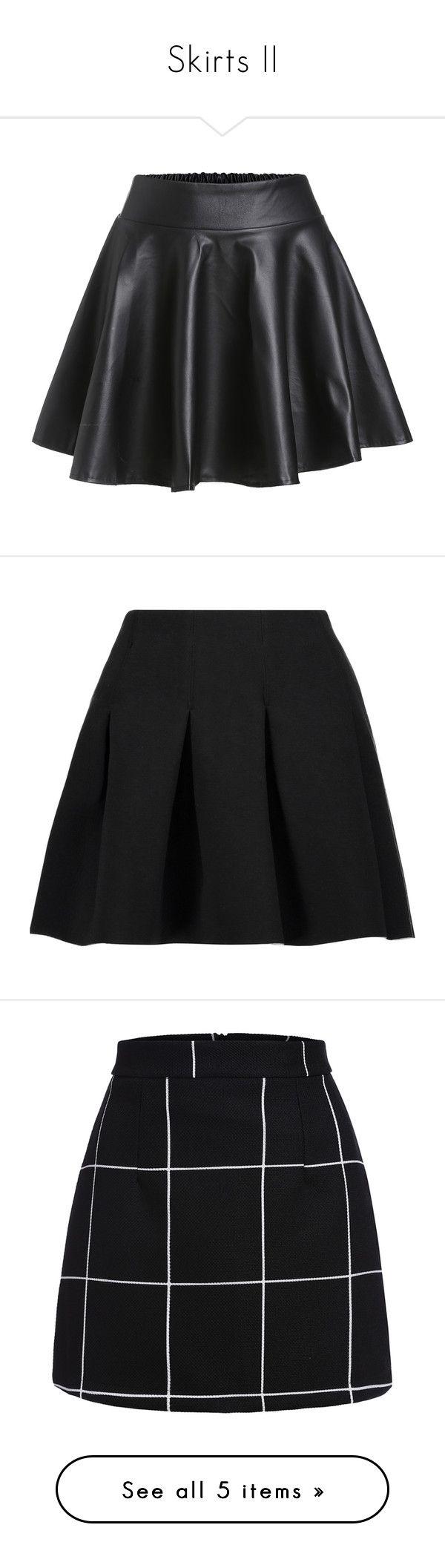 """Skirts II"" by rafakeka on Polyvore featuring skirts, mini skirts, bottoms, black, jupes, saias, flared skirt, elastic waist mini skirt, faux leather flared skirt e elastic waist circle skirt"