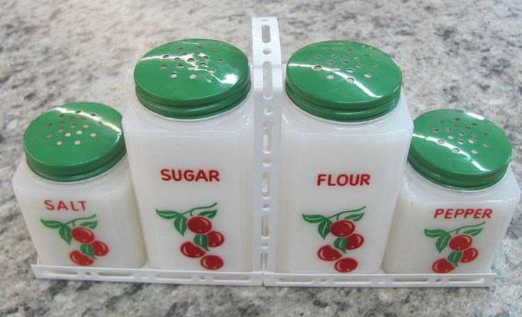 Vintage TIPP CITY Set Of 4 Shakers White Rack CHERRIES Green Original Lids NICE