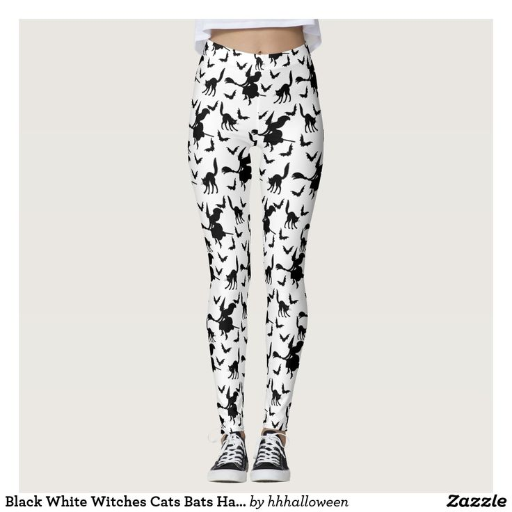 Black White Witches Cats Bats Halloween Pattern