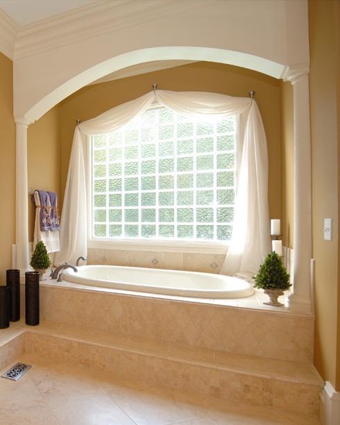 Pretty idea for tub surround 4x4 tiles on the diagonal for Bathroom design 4x4