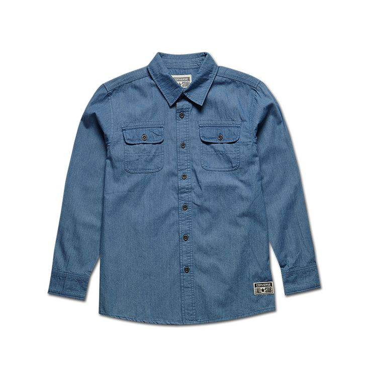 #converse Official long-sleeved basic models CONVERSE chambray shirt boys 4IIIISH216