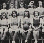 Grace Kelly (back row, 2nd from left), future movie star and Princess Grace of Monaco, on her Freshman H.S. basketball team at Stevens High School in Germantown, Pennsylvania (1944). Athletics ran in her family, as her father was an Olympic Gold Medalist and her brother would go on to win a bronze medal in the Olympics.    #GraceKelly #PrincessGrace #StevensHighSchool #1944