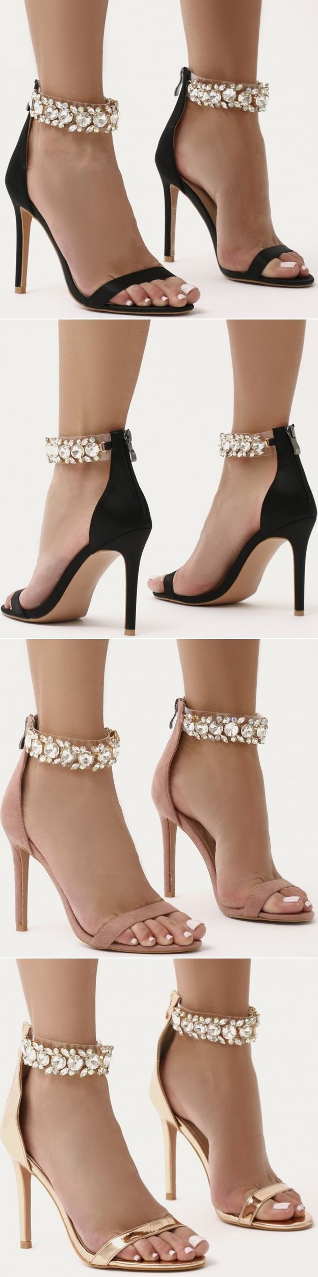 Encrust your ankle with embellishment in a classic barely there. These stiletto high heels feature jewel finished clear perspex ankle straps and simple front toe strap. Put your best foot forward and let your outfit shine. Pair with block colour cold shou