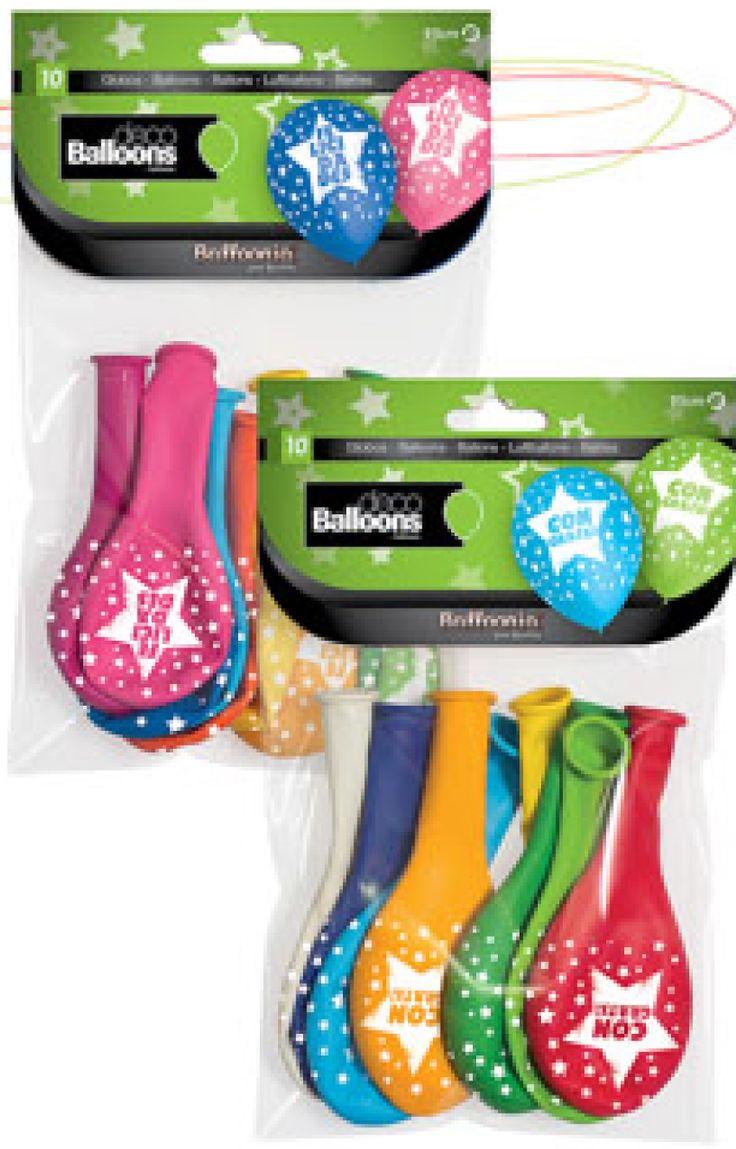 DisfracesMimo, bolsa de 8 globos felicidades 95 cm de colores. Comprar globos baratos. Ideal para decoraciones de festivales en grupos, colegios o cumpleaños.