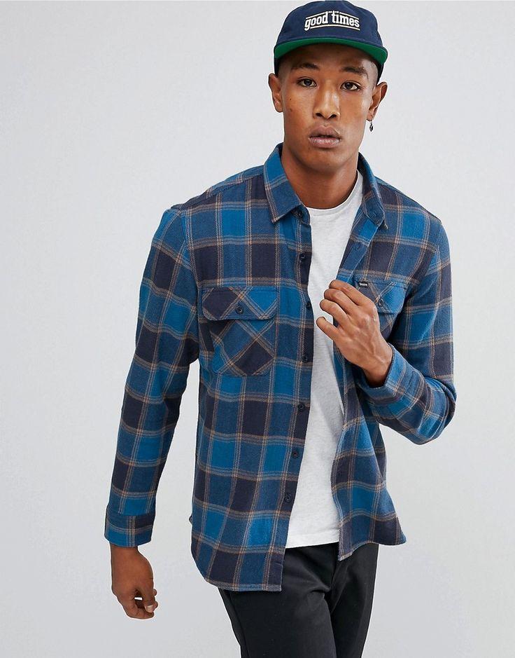 BRIXTON BOWERY FLANNEL CHECK SHIRT IN BLUE - BLUE. #brixton #cloth #