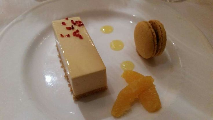 Vanilla cheesecake with salted caramel macaroon for our dessert.  Gatsby, Old Hollywood, James Bond wedding at Sopwell house