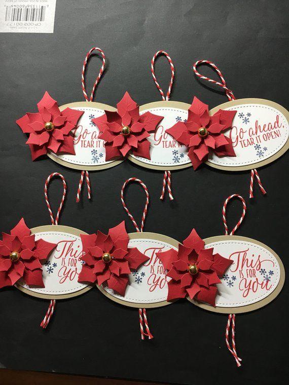 Christmas Gift Tags handmade, Gift Tags, Poinsettia, Tags, Handmade, Holiday, Ch…