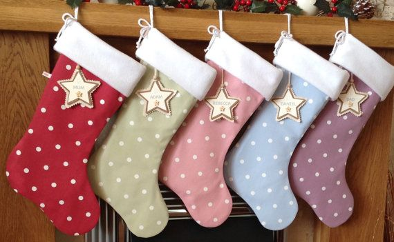 Dotty Christmas Stocking, Fleecy Christmas Stocking, Luxury Christmas Stocking, Personalised Christmas Stocking