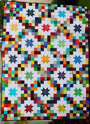 I enjoyed making my nine patch quilt with the 3 inch squares so much that I continued to cut up any small scrap pieces of fabric I had into 3 inch squares. I just tucked them away into a container…