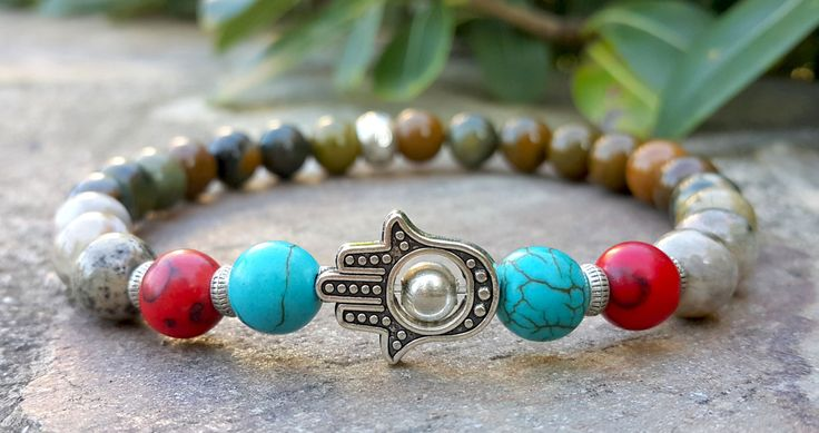 Men's Bracelet Ocean Jasper Hamsa Hand Bracelet Red Coral Blue Turquoise Fatima Hand Prayer Good Luck Mala Spiritual  Protection (29.95 USD) by Braceletshomme