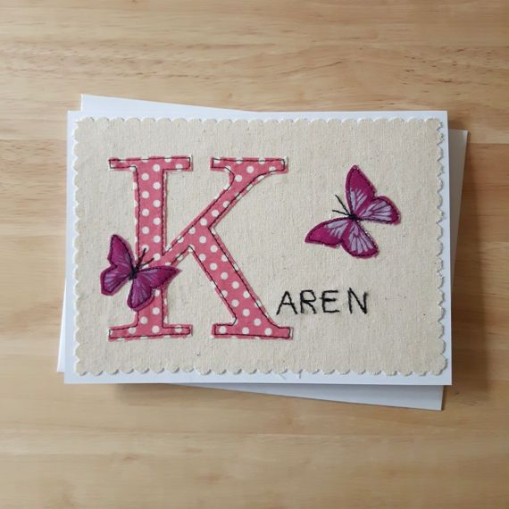 Personalised name card Monogram letter card with applique