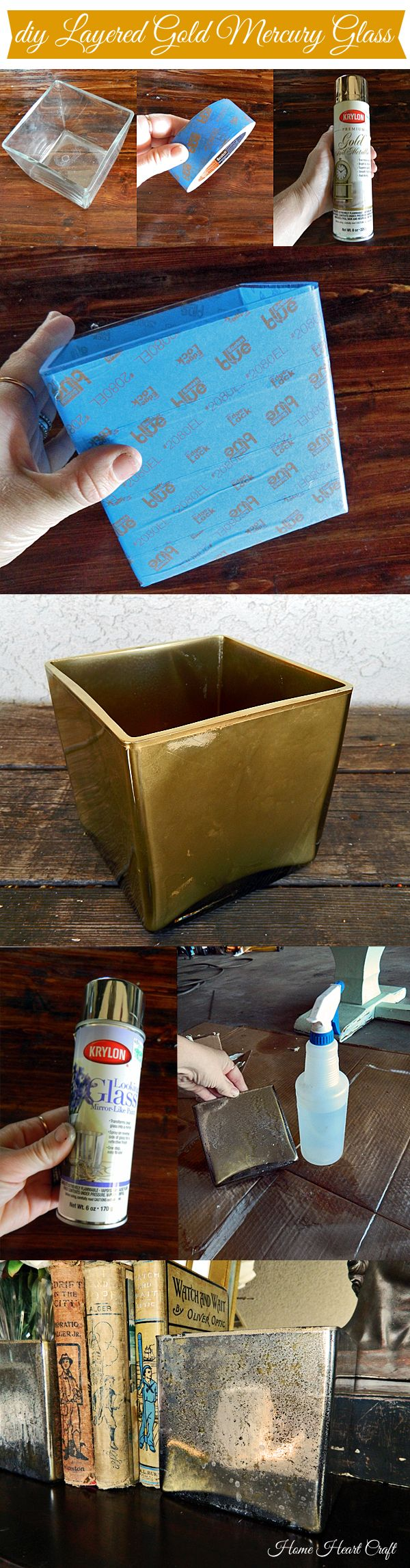 DIY Gold Mercury Glass. We all know how to make silver, now see how to make a gold tinted version in two simple steps!