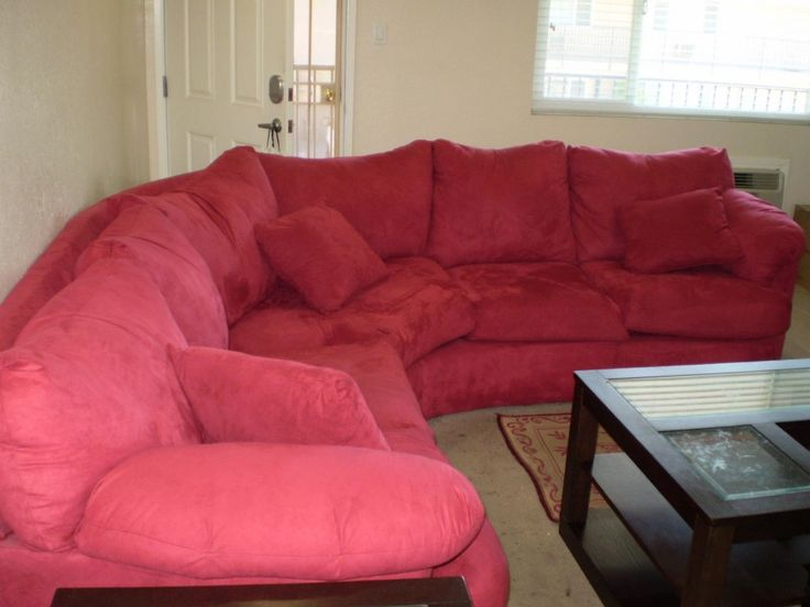 Living Room Red Suede Sectional Sofa With Coffe Table The Stunning In Your House