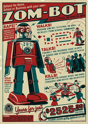 Robots!: Zombies Apocalyp, Zombot, Robots, Zom Bots, Comic Books, Travis Pitt, Graphics Design, Art Posters, Monsters