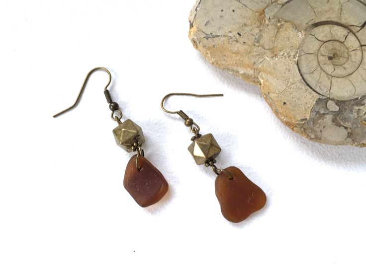 Brown sea glass earrings, recycled beach glass jewelry, beer bottle glass, boho, hippie, unusual birthday gift woman, present for her by QuirkyGirlWorkshop on Etsy