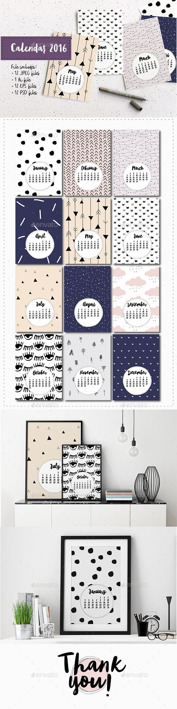 Cute Vector Calendar 2016 Template PSD, Vector EPS, AI #design Download: http://graphicriver.net/item/cute-vector-calendar-2016-template/13812323?ref=ksioks