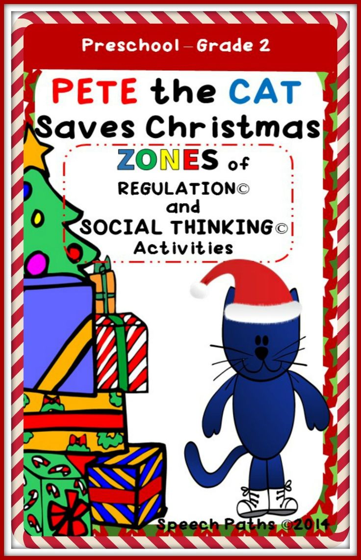 Pete the Cat Saves Christmas: Zones of Regulation & Social Thinking book companion.  Perfect for Preschool - Grade 2!  From Speech Paths