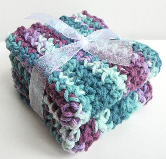 Crochet Washcloths Dishcloths.  Teal, Aqua Blue, Purple, Lavender.  For Kitchen, Bathroom, Baby!