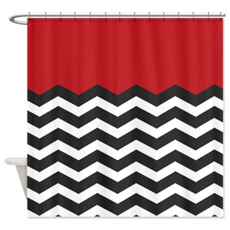 Red Black and white Chevron Shower Curtain on CafePress.com