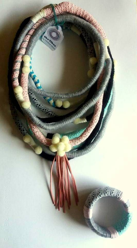 Unique/ Yarn Wrapped Necklace/ Street Style/ African Inspired/