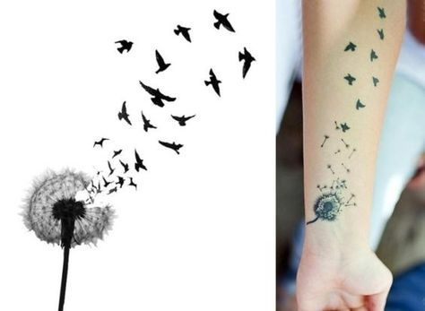 Ideen für Tattoovorlagen für Unterarm-Löwenzahn-Samen als Vögel